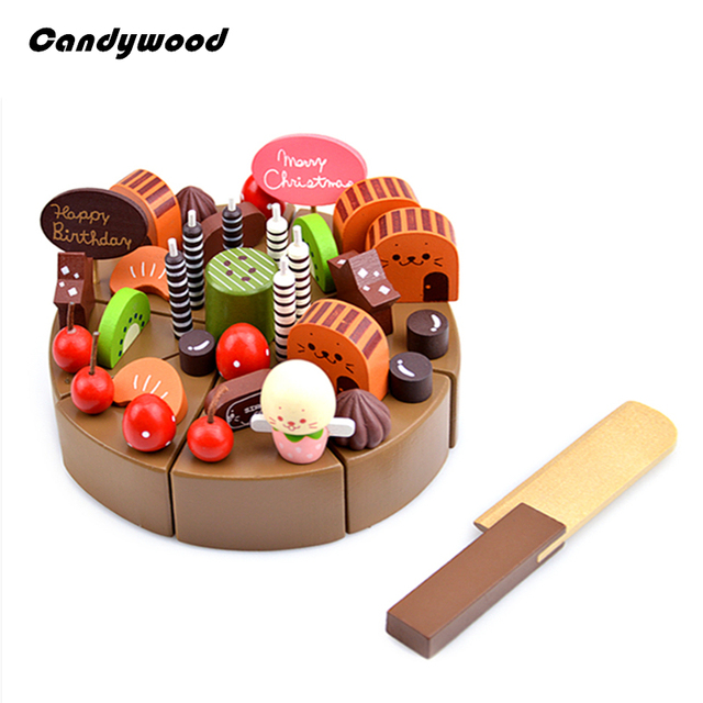 Kids kitchen Toys Chocolate Birthday Cake Children Wooden Cake food Toys Wood Puddy Pretend Toys