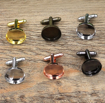 Blank Men's Cufflinks Settings with Round Deep Wall Bezel tray Cabochons Bases Metal Cuff links DIY Findings Multi-color Plated