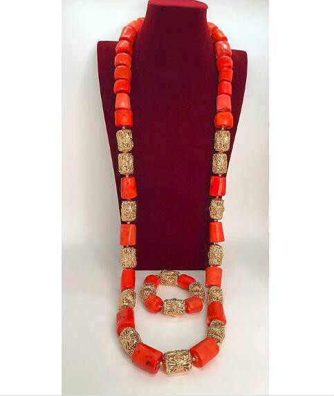 Bulk African Jewelry 45 Inches Wine Red Men Coral Bead Necklace Set African