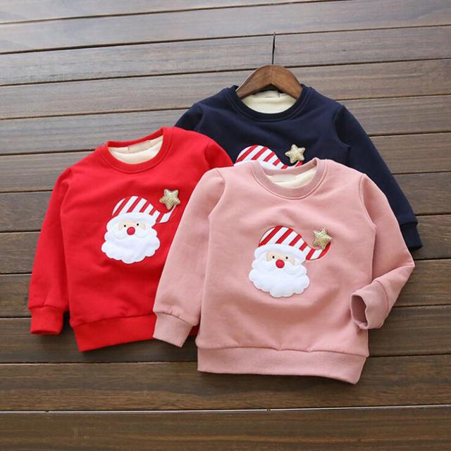 2016 Novas Crianças Hoodies Veludo Quente Camisola Meninos e Meninas Bonito Boneco de Neve Natal Camisola Para Meninos Meninas Roupas Natal