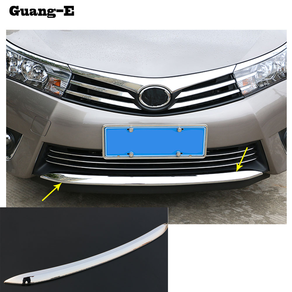 For Toyota Corolla Altis 2014 2015 2016 Car cover Bumper engine ABS Chrome trims Front bottom Grid Grill Grille hoods edge 1pcs high quality for toyota highlander 2015 2016 car cover bumper engine abs chrome trims front grid grill grille frame edge 1pcs