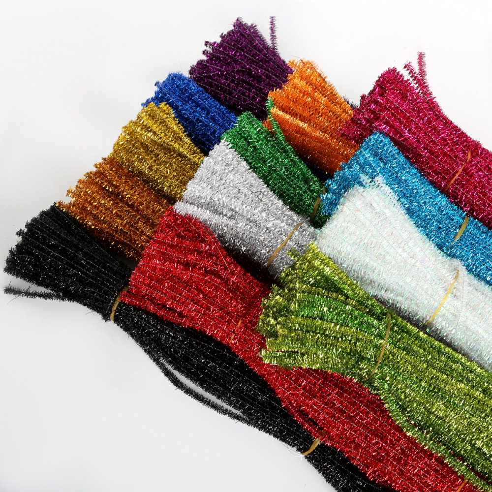 100 pçs glitter chenille hastes limpadores de tubos de pelúcia estanho hastes com fio varas crianças educacional diy artesanato suprimentos brinquedos crafting