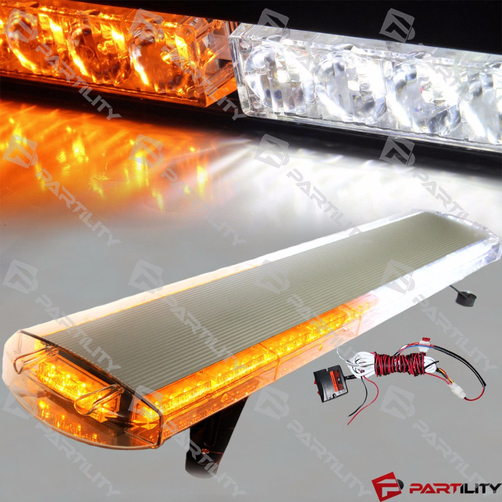 88 LED 47 pouces ambre blanc avertissement d'urgence camion stroboscopique remorquage barre lumineuse toit lampe Flash