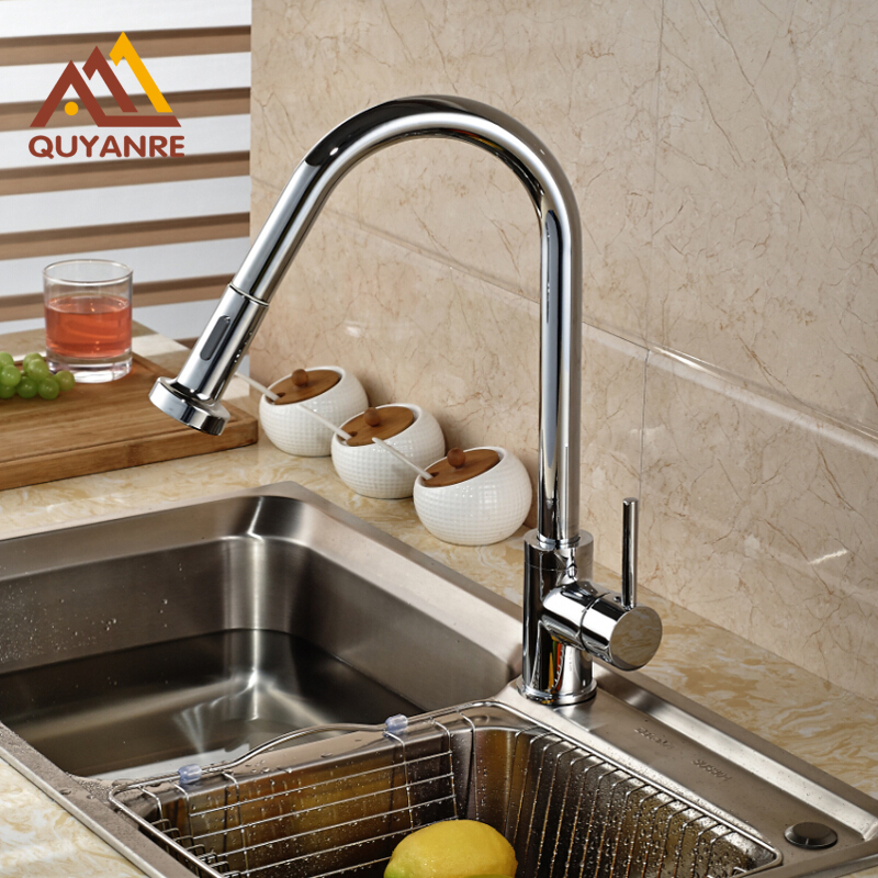 Chrome Finish Sink Kitchen Faucet With Hot And Cold Pipes Mixer Tap Deck Mounted