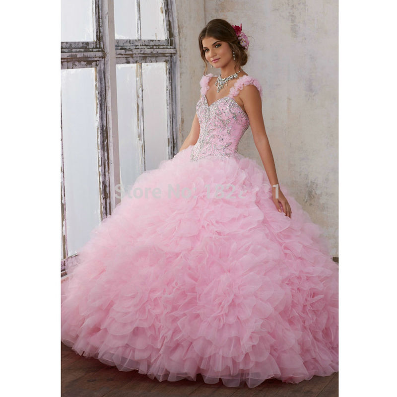 Beaded Cheap Organza Beach Wedding Dresses China Ball Gown: Pink Puffy Cheap Quinceanera Dresses 2019 Ball Gown