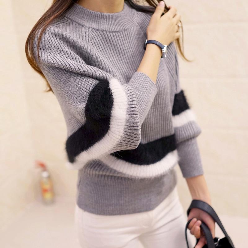 2017 Neue Winter Frauen Pullover Fashion O-ansatz Batwing Gestreiften Pullover Plus Größe Lose Gestrickte Pullover Weiblich Jumper Tops