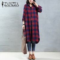 New Top Blusas ZANZEA Fashion Women Turn Down Collar Plaid Check Asymmetrical Blouse Long Shirt Autumn