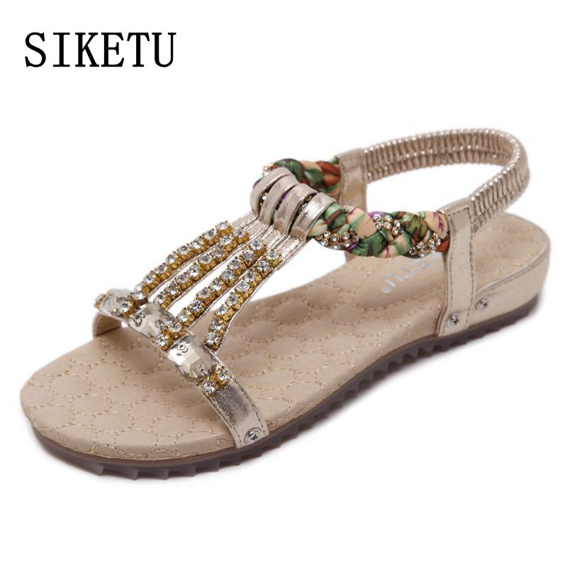 SIKETU 2017 summer new women sandals Bohemia beaded diamond large size flat sandals non-slip soft sand beach women sandals 41 42 2016 fashion summer women flat beaded bohemia ppen toe flat heel sweet women students beach sandals o643