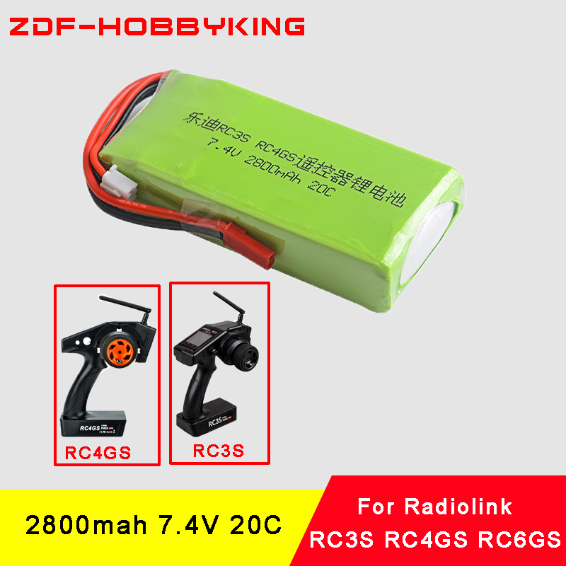 ZDF New Arrived Li-Polymer <font><b>2S</b></font> 7.4V <font><b>2800mah</b></font> 20C <font><b>Lipo</b></font> Battery For Radiolink RC3S RC4GS RC6GS Transmitter image