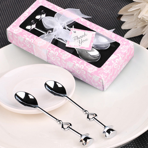 100 ensembles/lot 'la couleur parfaite 'ensemble cuillère à café amour coeur cuillères faveur de mariage cadeau d'invité livraison gratuite