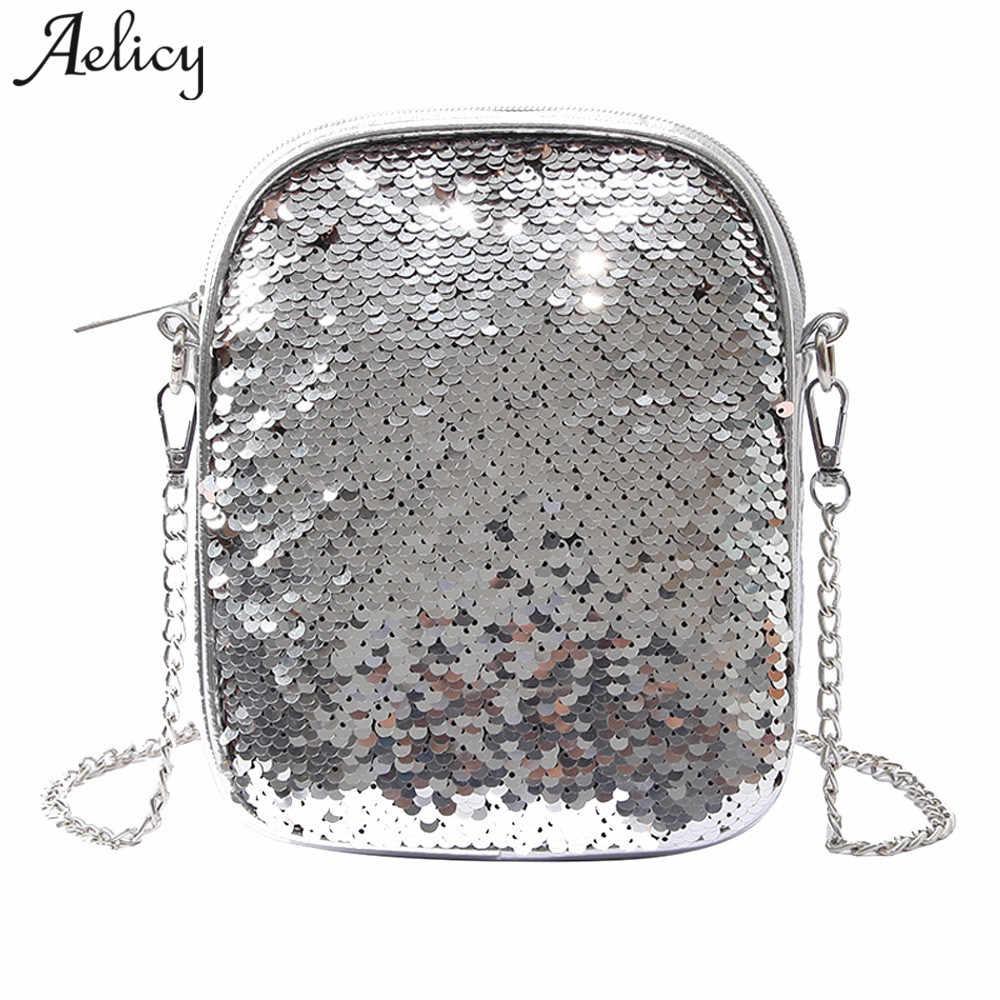 Aelicy PU Leather Women Handbag Vintage Women Messenger Bag Fashion Female  Sequins Shoulder Bag Flap Women 5d280c6d9425