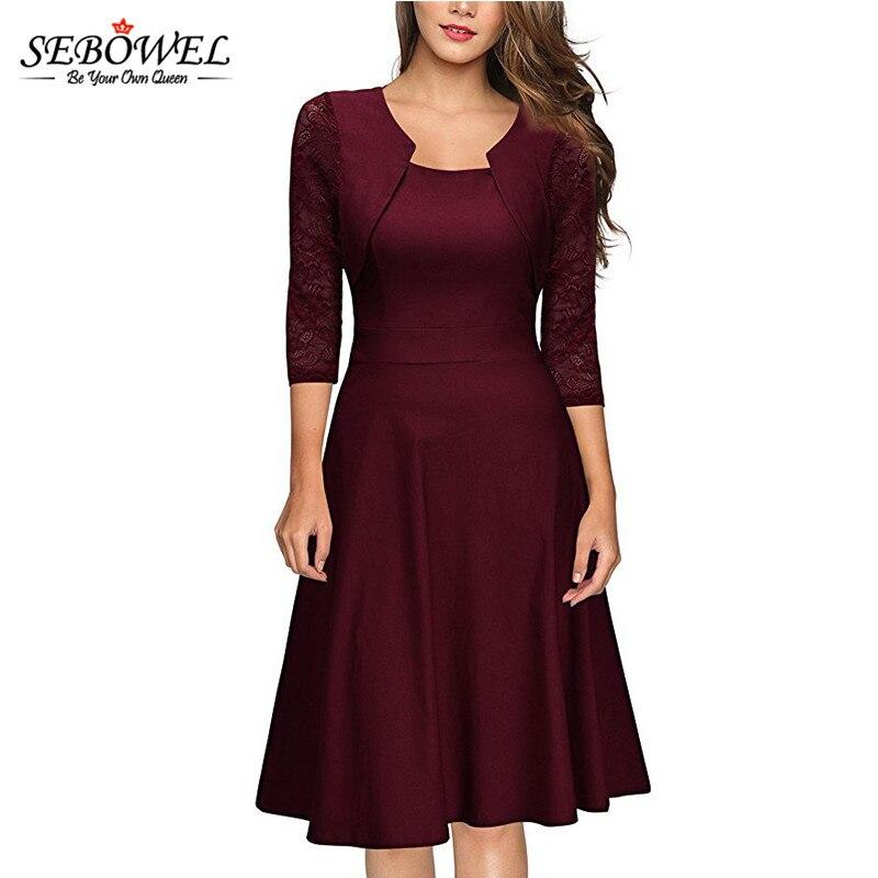 08557ad2919 SEBOWEL 2018 Autumn Elegant Skater Dress Women Lace Half Sleeve A-Line Dresses  Elegant Office Formal Work Dress Plus size S-XXL