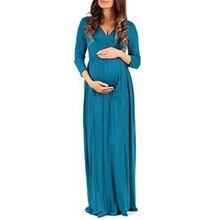 Longo Vestidos de Gravidez Para As Mulheres Grávidas Roupas Sólida Vestidos Gestantes Vestidos Grávidas Primavera Roupas de Maternidade Em Linha Reta