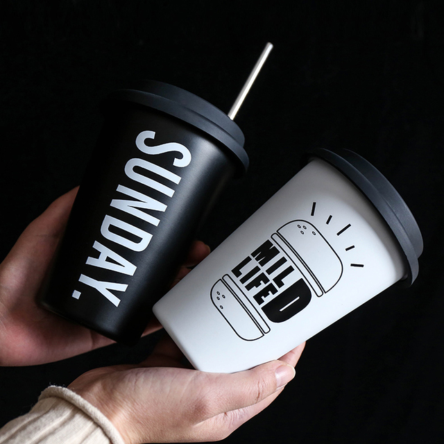 Black White Stainless Steel Silicone Mugs Hand Cup With Straw Lid Cup Sleeve Mug Tea Milk Cups Home Office School Gift 1PCS