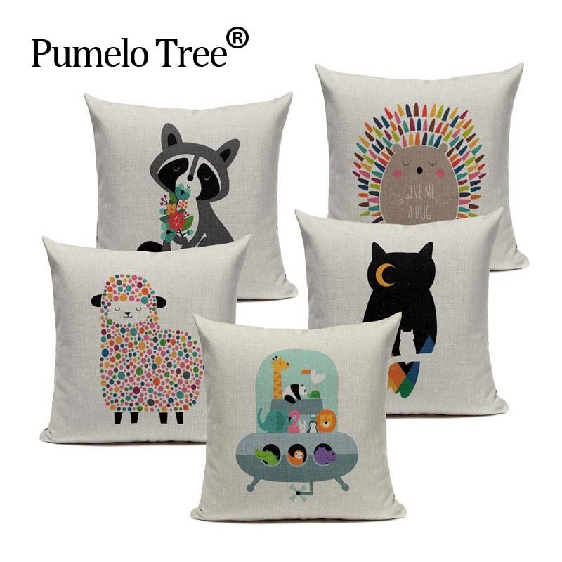 Sheep Cushion Cover Fly Whale Owl Bubble Throw Pillow Ocean Cotton Linen Decor for Bedroom Home Sofa Car Custom Pillow Case