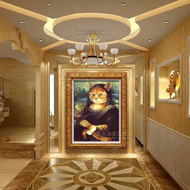 Animal Cat 100% Hand Painted Abstract Hand-painted Mural Paintings Mona Lisa Cat Furnishing Restaurant Oil Painting In Canvas