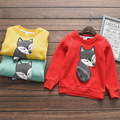 new winter cartoon fox printed girls hoodies 2017 long sleeve thicken kids tops children clothing 3 colors girls pullover