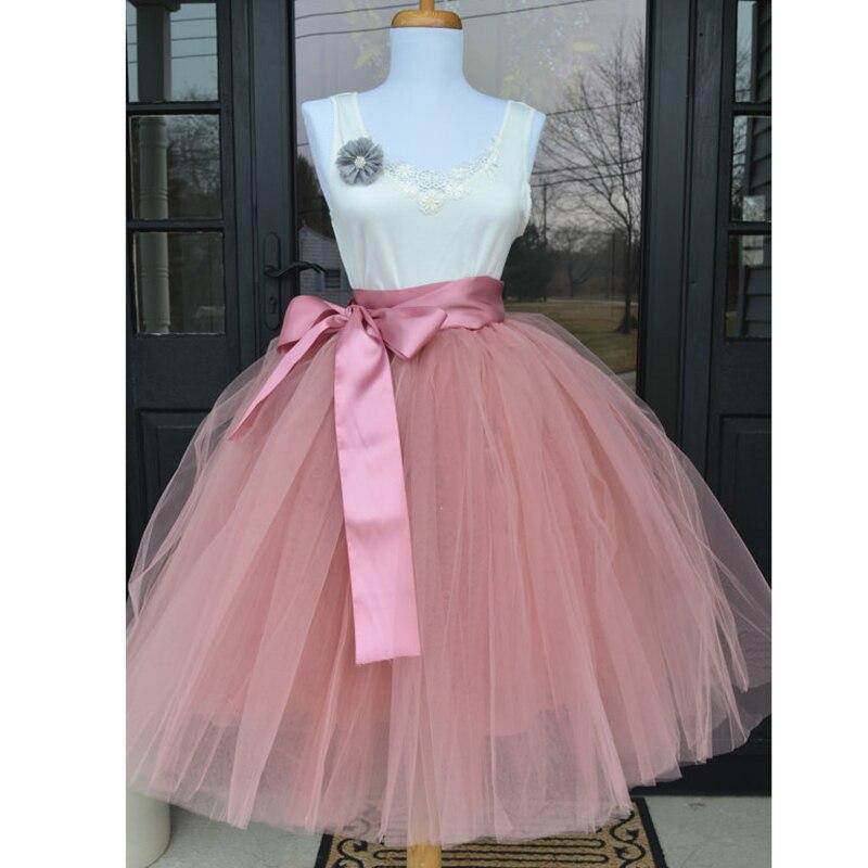 6 capas 65 cm moda tul Falda plisada tutú faldas mujeres Lolita Petticoat damas de honor Vintage Midi falda Jupe Saias faldas