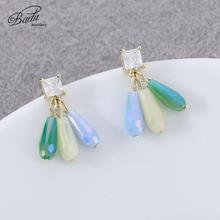 Badu Colorful Small Stud Earrings for Women Fashion Cute Crystal Korean Shiny Rhinestone Trendy Statement Jewelry Gift