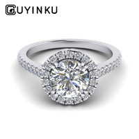 GUYINKU 18K 750 White Gold 1ct 6.5mm EF Color Moissanite Halo Engagement Ring for Women Wedding Gift