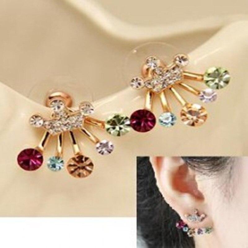 7d55f2d67158 Europa y América joyería de moda corona pendientes modelos femeninos  hipoalergénico color