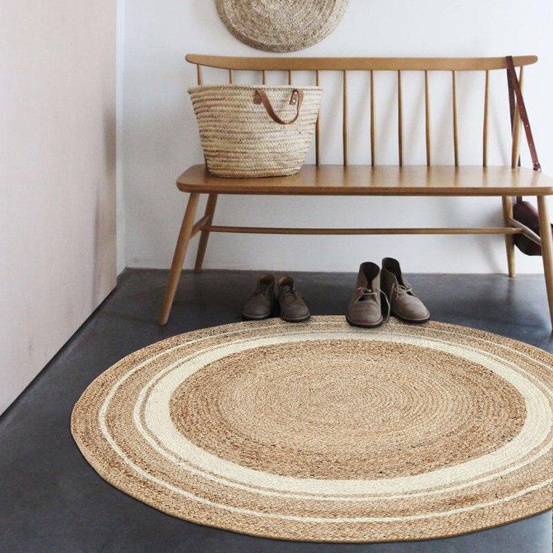 Tapis de salon tricoté à la main en Jute de qualité naturelle, tapis de chevet décoratif de forme ronde, tapis cool pour l'été