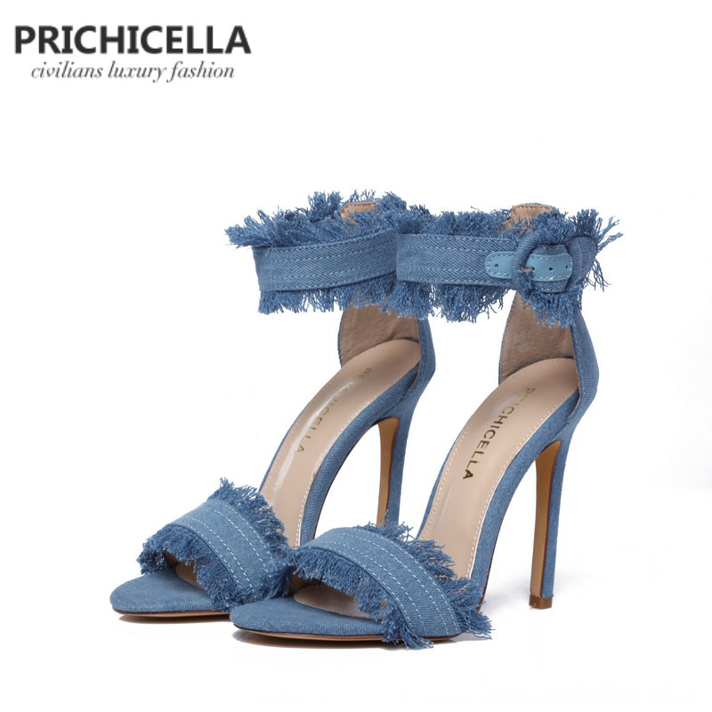 PRICHICELLA blue denim ankle strap high heel sandals genuine leather summer stiletto heels denim zipper hollow worn stiletto womens sandals