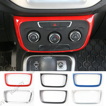 Rojo/Negro/Plata Para Jeep Compass 2017 1 UNID ABS Interior coche Aire Acondicionado Interruptor de Botón de Bisel Marco Del Panel de Ajuste de La Cubierta etiqueta