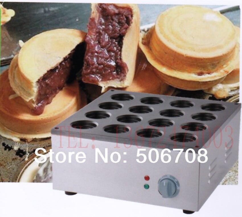 free shipping 220v-240v 16 hole Commercial Use Pancake Waffle Maker Iron Machine Baker Bean Cake Machine free shipping electric 32 hole bean cake machine copper plate imagawayaki machine wheel cake