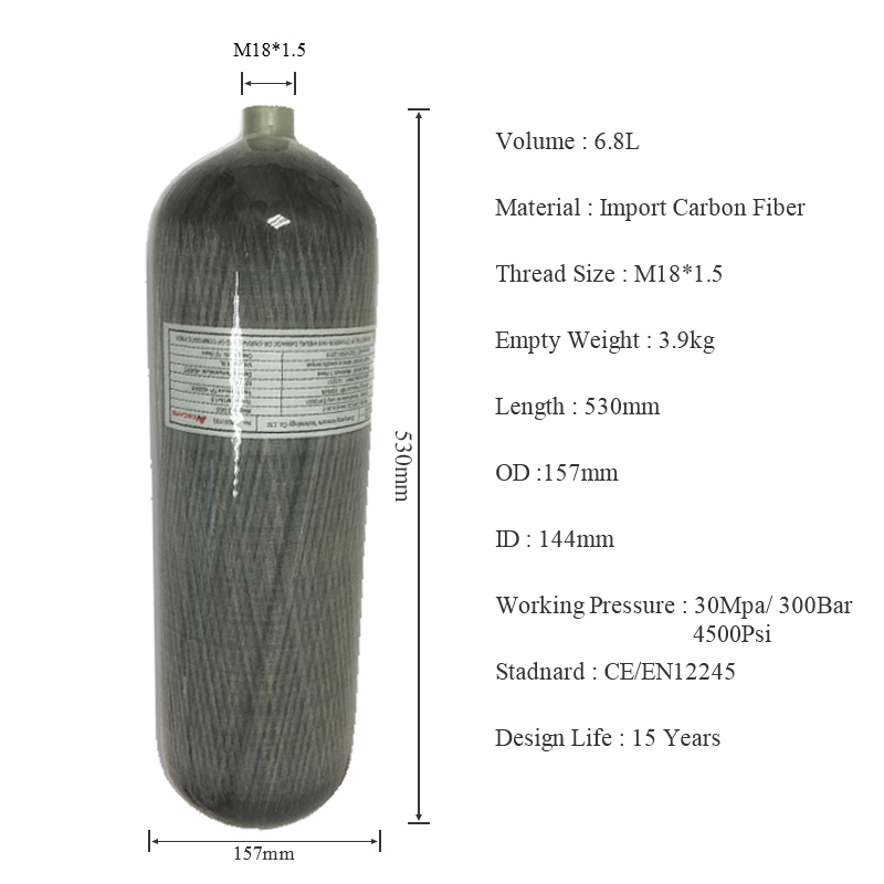 Acecare 4500psi 6.8L Min SCUBA Diving Carbon Fiber SCBA Cylinder for PCP Rifle Hunting Paintball Tank Air Refill AC168