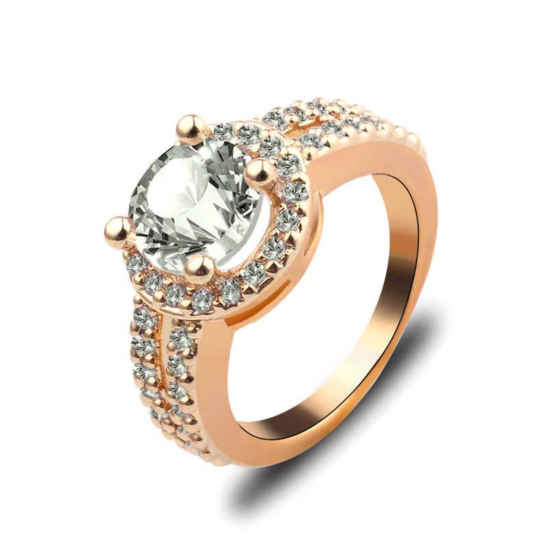 Charm ผู้หญิง Rose Gold แหวนเครื่องประดับสีขาวคู่ประดับ Zircon จำลองแหวนหมั้นผู้หญิงเบาะ Semi Mount แฟชั่นเครื่องประดับ