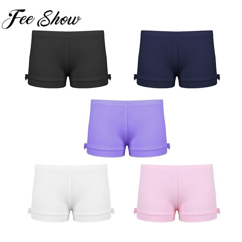 Gymnastics Elastic Sports Shorts for Girls Kids Girl Tight Pants Elastic Stretchy Shorts Ballet Dance Shorts Yoga Gym