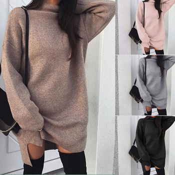 Winter Christmas Fashion Sweater Women Long Sleeve Ladies Turtleneck Knitted Sweater Pullovers Dress Loose Tops Clothes invisible bra
