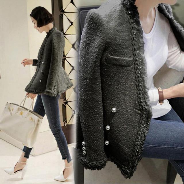 d3ebfe6aaeba Women Coats Autumn New High End Jackets Female Outerwear White Tweed ...