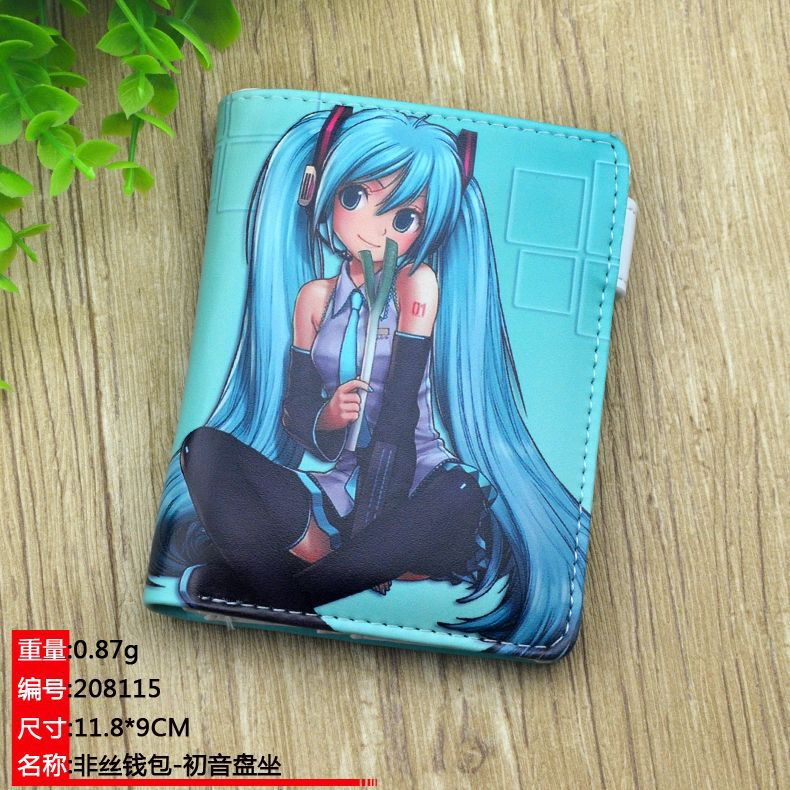 TOP Sale : Short Coin Purse Anime/ACG Hatsune Miku Cartoon Printing With Card Holder Wallet With Magnetic Button For Gift
