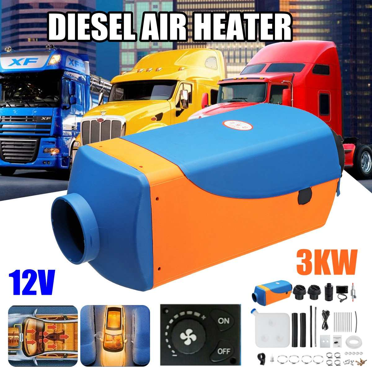 3KW diesels Air Heater Planar 3000W 12V For Motorhome Trucks Boats Bus  Knob Switch Car Heater with 1xSilencer3KW diesels Air Heater Planar 3000W 12V For Motorhome Trucks Boats Bus  Knob Switch Car Heater with 1xSilencer