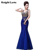 Blue Long Cheongsam Women China Evening Dress New Lace Chinese Traditional Dress Sleeveless Embroidery Qipao Party Dresses Robe