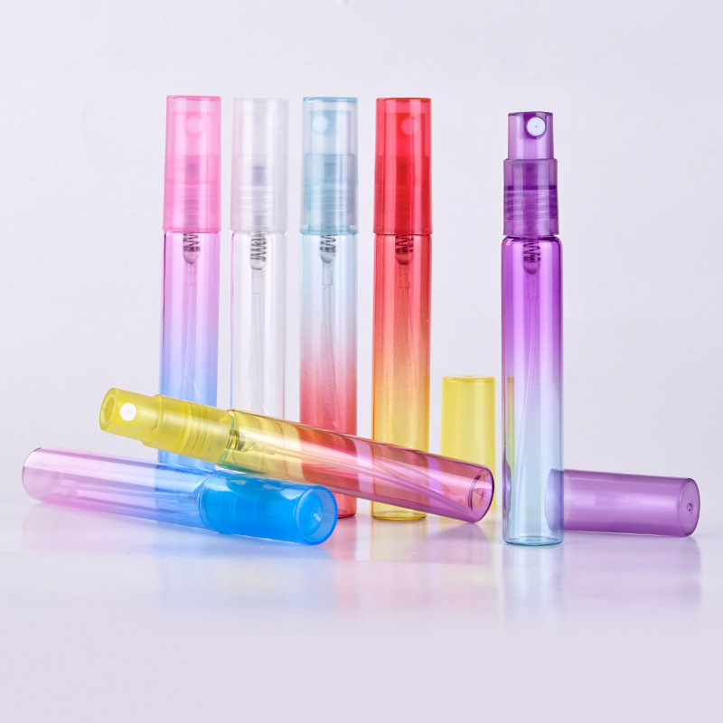 8ML Portable Colorful Glass Refillable Perfume Bottle With Atomizer Empty Cosmetic Containers Sprayer For Travel Random Color