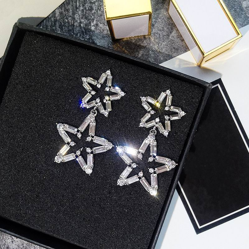 Luxury Big Star Drop Earrings For Women 19 New Rhinestone Party Statement Earrings Lucky Jewelry Korean Style 2