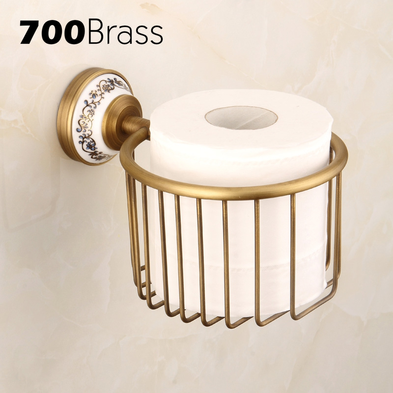 New Arrival Classical Style Antique Bathroom Paper Basket Brass Ceramic Base Paper Towel Holder Wall Mounted Bath Accessories
