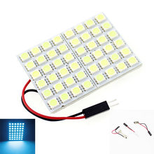 2 Pcs 48 5050-SMD LED Panel Cahaya + 31 Mm 42 Mm Memperhiasi Dome Adaptor Bohlam Lampu Iceblue + T10 + BA9S 12 V(China)
