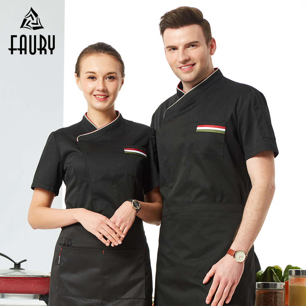 2019 New Chef Uniform Women Men Restaurant Clothes Short Sleeve Chef Jacket Workwear Clothing Hotel Kitchen Barber Cook Shirt