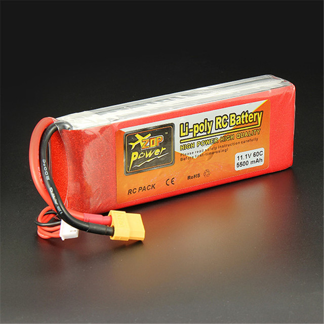 Hot New ZOP Power 11.1V 5500mAh 3S 60C Lipo Battery XT60 Plug Rechargeable Lipo Battery RC Battery For RC Helicopter Part