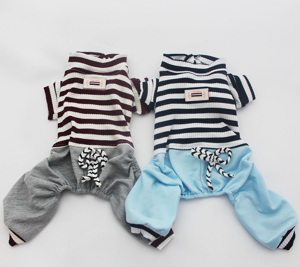 New Pet Dog Striped Jumpsuit Rompers Cat Puppy Shirt Pants Spring/Summer Clothes 5 Sizes