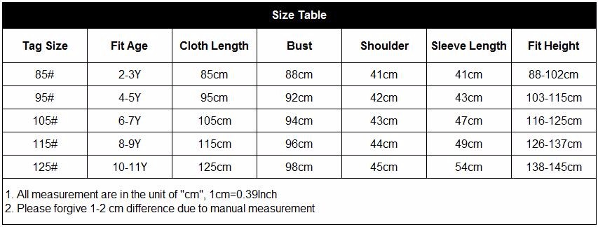 size table 1