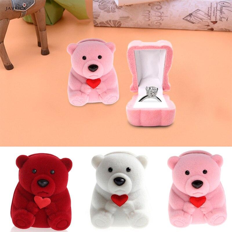 JAVRICK мини-милый медведь Jewllery подарок Коробки для кольца и небольшие серьги кулон Цепочки и ожерелья Новый