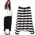 Women Baggy Harem Hip-Hop Dance Capri Pants Striped Flared Wide Leg Trousers