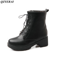 QZYERAI European Style Martin Boots Ankle Boots Heels Mountaineering Waterproof Stylish Women Shoes Large Size 34