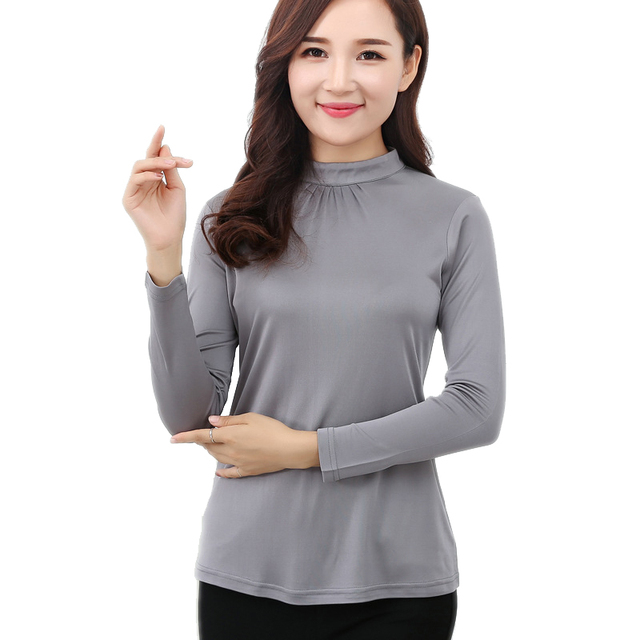 100% Pure Silk Women's T-shirts Femme Wild Long Sleeve Shirt Women Stand Collar Tees Shirt Fashion Woman Tops Female T-shirt