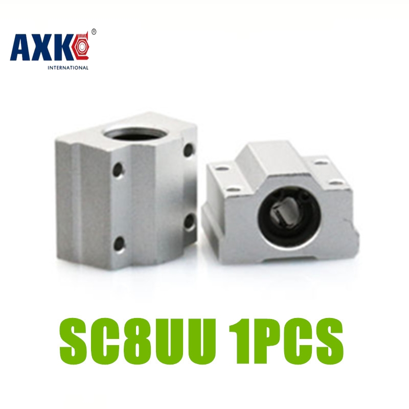 AXK SC8UU SCS8UU  Slide Unit Block Bearing Steel Linear Motion Ball Bearing Slide Bushing Shaft CNC Router DIY 3D PRINTER Parts axk sc8uu scs8uu slide unit block bearing steel linear motion ball bearing slide bushing shaft cnc router diy 3d printer parts